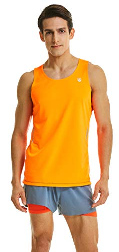 Leevy Tank Tops for Men Ultra Lightweight Singlet Running Tank Dry Fit Sleeveless Shirt(US Large=Tag 3XL Orange)