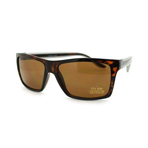Brown Lens Mens Narrow Rectangular Plastic Sport Sunglasses Tortoise - Cia Sunglasses