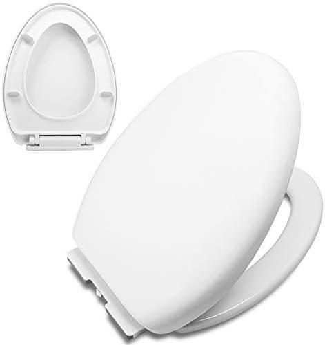 白いソフトクローズド便座、掃除しやすい/便座を降ろす、頑丈なヒンジ、耐久性のあるプラスチック、丸型/楕円形/V字型で完璧にフィット。