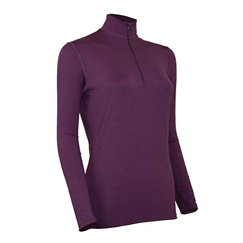 Polarmax Long Underwear - Polarmax Comp 3 Zip Mock Womens Long Underwear Top - Medium/Plum