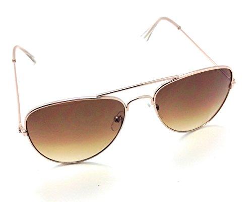 MyUV Kids aviator Stainless Steel Frame Pilot children sunglasses (Gold, Brown) (Glasses Police Frames)