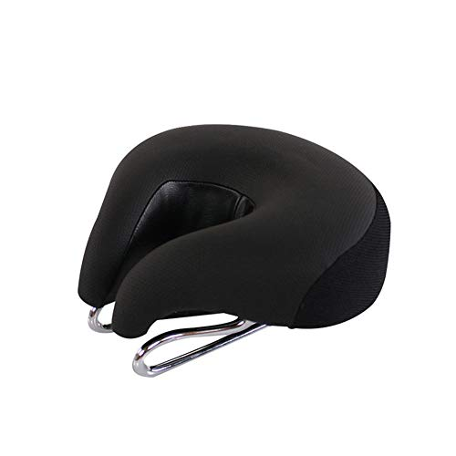 Domccy No Nose Mountain Bike Saddle Soft Bicycle Cushion Pad Wide Comfortable Bike Seat Cycling Ergonomic High Resilience Breathable for Men 1pc Black
