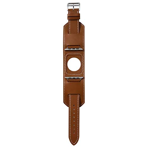 Larmly For Apple Watch Series 4/3/2/1 Leather Watch Band Modern Simplicity Strap Metal Buckle 38MM/40MM -