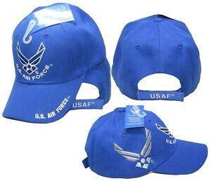 JumpingLight U.S. Air Force Wings Royal Blue US Air Force on Bill Shadow Embroidered Cap Hat for Home, Official Party, All Weather Indoors Outdoors