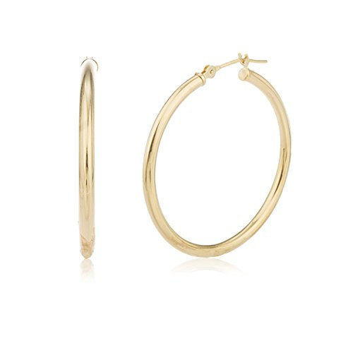 10k Yellow Gold 2mm 1 Inch (25mm) Basic Pin Catch Hoop Earrings (GO-386) 14k Gold Name Earrings