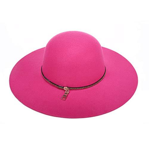 Felted Wool Hat Patterns - ANDERDM 2019 Women Autumn Wide Wool Edge Hats Ladies Spring Floppy Wool Felt Big Caps Women Winter Big Felted Cap Rose Red