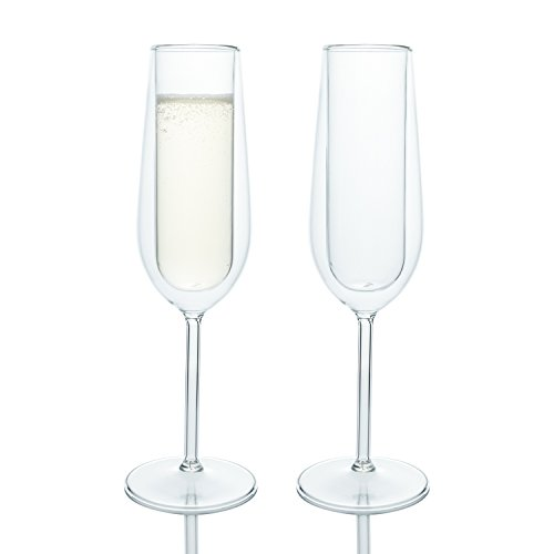 Elegant Classic Double Wall Champagne Flutes Glass, Set of 2, Special Occasions Toasting Wedding Engagement Party
