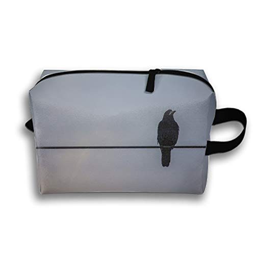 Roomy Cosmetic Bag Halloween Crow Toiletry Pouch Makeup with Zipper for Travel -