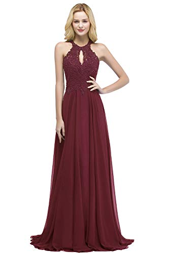 (MisShow Shimmering Floral Lace Halter Flare Long Ball Gowns for Women Formal,Burgundy,12)