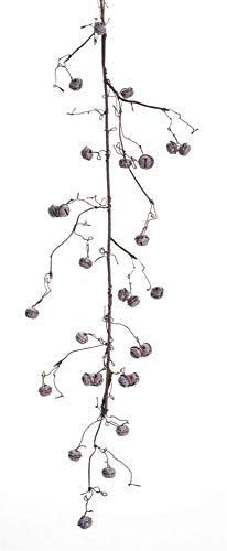 Melrose Pack of 6 Rustic Twig Christmas Garland with Gray Jingle Bells 55