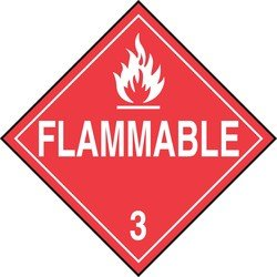 Accuform Signs MPL301VP1 Plastic Hazard Class 3 DOT Placard, Legend FLAMMABLE 3 with Graphic, 10-3/4 Width x 10-3/4 Length, White on Red