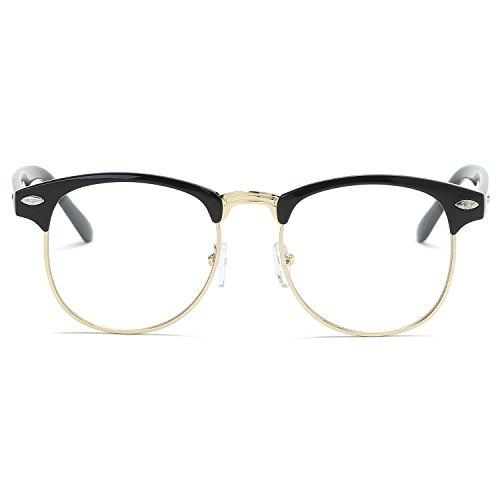 SOJOS Semi Rimless Eyewear Frame Eyeglasses Half Horn Rimmed Glasses SJ5018 with Bright Black Frame/Gold Rim/Clear Lens