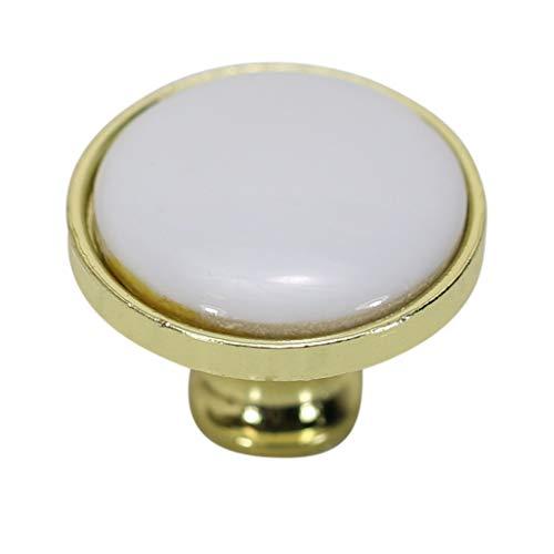 (Hamilton Bowes Porcelain & Polished Brass Cabinet Hardware Round Knob 1-1/4