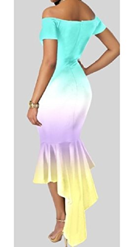 Gradient Sleeve Dress Womens 1 Midi Bodycon Jaycargogo Mermaid Fashion Short qPB1xAX