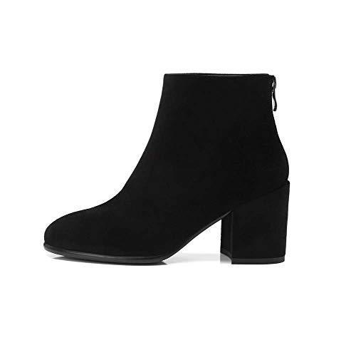 Toe Botines Chelsea Bota Duuqili Gamuza 34eu Tobillo Grueso black De Mujer Ronda Cremallera Calzado Corto Zapatos Botas vWOFR