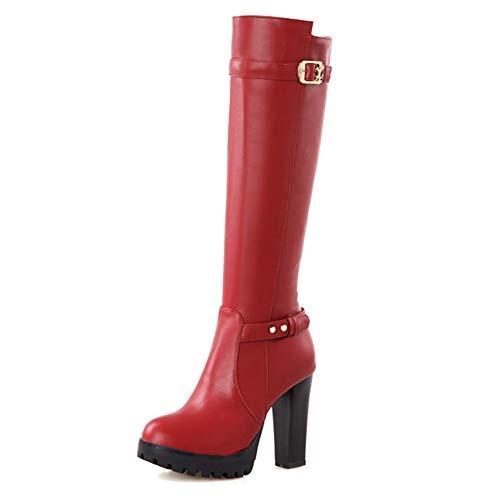 2018 Plataforma Altos Red Hasta Mujer Bota De Rodilla La A Estrenar Mejor Montar Zapatos Tacones Botas Moda Calidad Hoesczs vdqFwOv