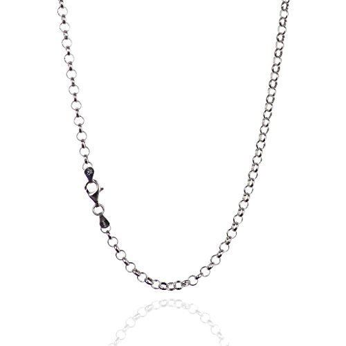 (925 Sterling Silver 4.00 mm Round Rolo Chain Necklace with Pear Shape Clasp-Rhodium Finish)
