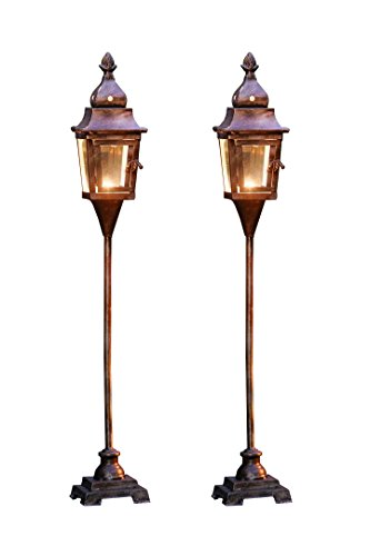 2 Pack Candle Lantern - Floor Standing Metal Candle Lantern with Pedestal Base Product SKU: CL221897 (Lanterns Floor Outdoor)