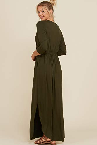 Length 4 Slits Full Bust Maxi Dress Side Shirring Olive Wrap S 3XL 3 Annabelle Women's Detail Sleeve 8nYzqfPwpx