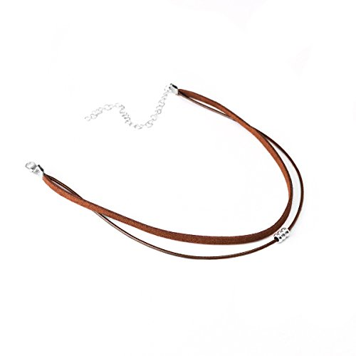 (HOOPEN Women Choker Velvet Beads Necklace Double Layer Cord Chain Jewelry)