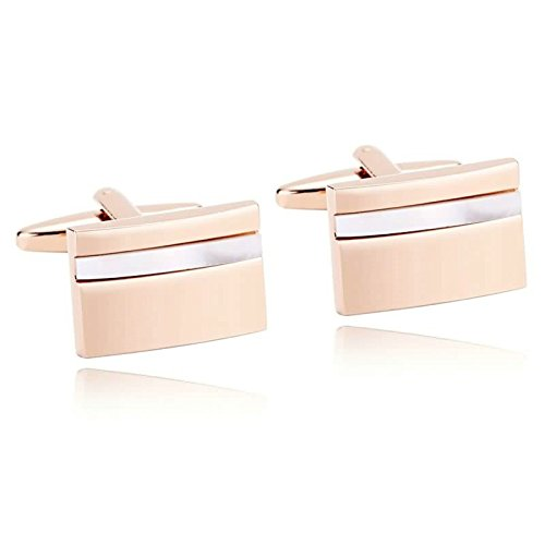 Epinki Mens Stainless Steel White Rose Gold Classic Laser Cut Camber Rectangle Cufflinks for Wedding ()
