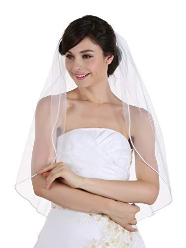 (1T 1 Tier Sattin Rattail Cord Edge Bridal Veil - Ivory Fingertip Length 36