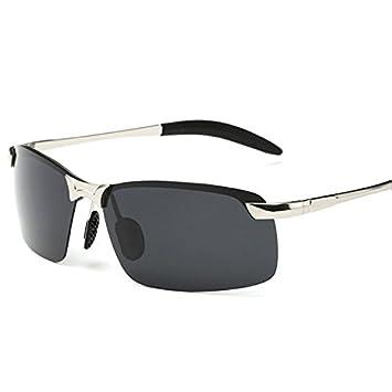 TIANLIANG04 Hombres Del Deporte De Hombres Polarizado Sin Conducción,Gafas De Herraje Metálico Plateado Con