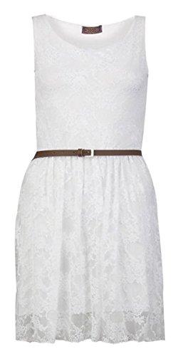 Fashion Charming de Fashion Charming de mujeres flor Punta Mangas Señora corta vestido blanco