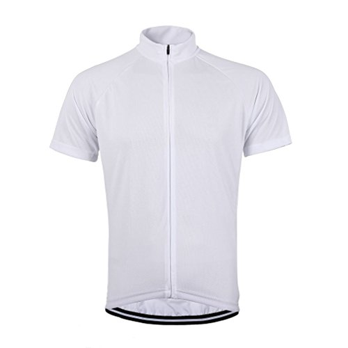 White Short Sleeve Cycling Jersey (sportwin Men's Bike Cycling Jersey Short Sleeve Solid Color Shirt for Road,Breathable & Quick Dry)