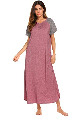 fef098dc45 Ekouaer Womens Nightgowns Cotton Sleepwear Lounge Dresses Loose Pajamas (Red