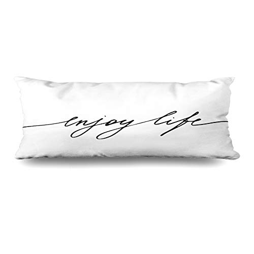 (Ahawoso Body Pillows Cover 20x60 Inches Retro Cute Phrase Lettering Text Quote Enjoy Hand Life Abstract Food Black White Vintage Label Decorative Zippered Pillow Case Home Decor Pillowcase)