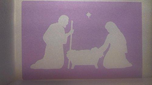 Large Nativity family & star window spray snow stencils sheet Christmas Jesus]()