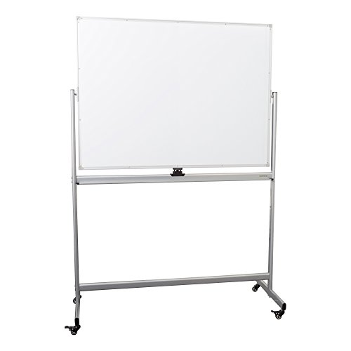 Learniture Double-Sided Mobile Magnetic Marker Board, 4' W x 3' H, White, LNT-RCE-3048-PK-SO (Markerboard Double Sided)