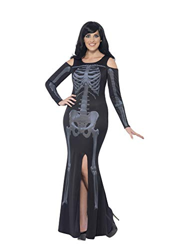 Smiffys Women's Skeleton Costume, Dress, Legends of Evil, Halloween, Plus Size 26-28, 44336