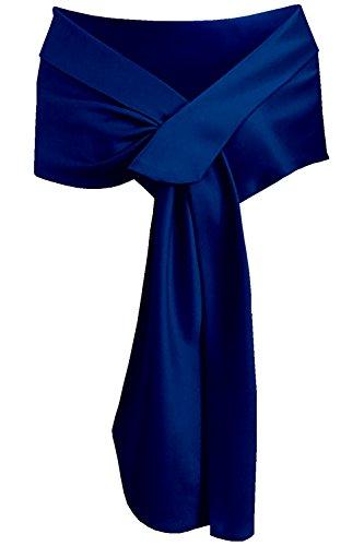 Meet Edge Women's Satin Shawl Wrap for Evening/Wedding Party Royal Blue