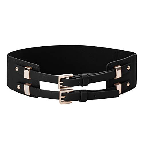 Fashion Elastic Leather Waist Belt for Dress Skirt Jeans Black Size M CL994-1