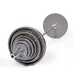 Ader Olympic 300 lb Weight Set- Grey Wide Lip Plates