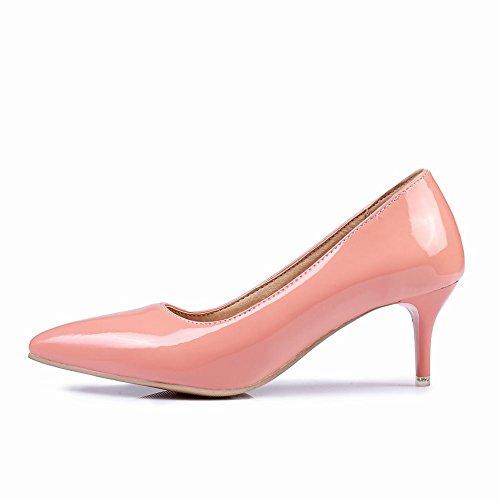 Charme Voet Dames Mode Puntschoen Middel Hak Pomp Schoenen Roze
