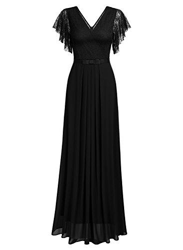 Vestido Miusol Mujer Negro para Largo Slim Encaje Verano 1 Vintage 6AqwxASX