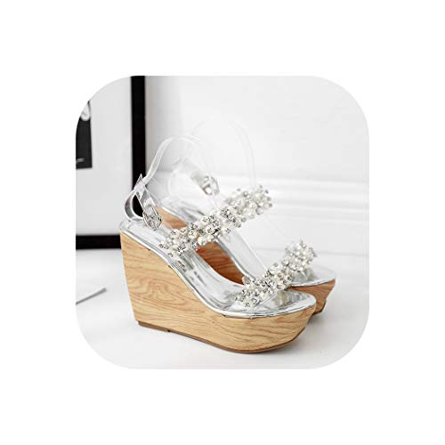 Sandals Summer Wedge Women's Shoes Transparent high-Heeled Platform,Silver,34