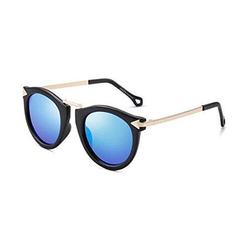 Moda Femenino Viaje HLMMM Cara UV Color Sol Gafas de de blue ice polarizada Marrón Viaje Decoración box Redonda Gafas Black Tendencia Caja de Retro Sol de tvqHv