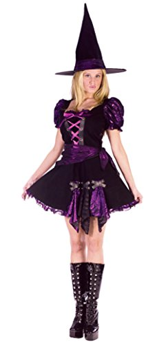 Witch Costumes Plus Punk Purple Adult (Funworld Womens Sexy Purple Punk Witch Halloween Theme Party Fancy Costume, Medium/Large)