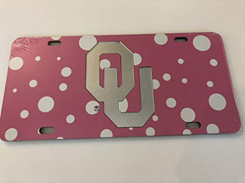 The Sports Fan Store Pink Polka Dot Oklahoma Sooners Mirrored Car Tag - OU License Plate