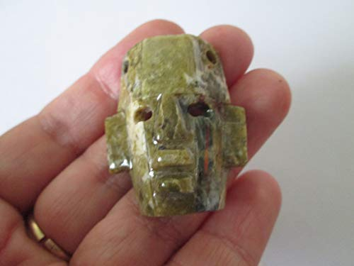 brown green agate hand handmade face mayan mosaic abalone for sale  Delivered anywhere in USA