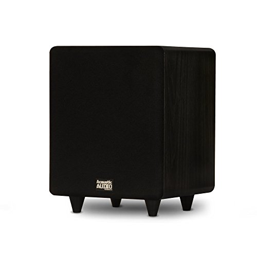Acoustic Audio PSW300-8 Home Theater Powered 8″ LFE Subwoofer Black Front Firing Sub