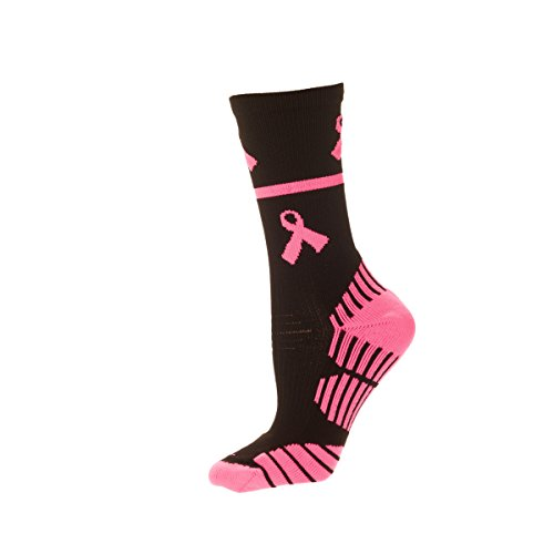 CSI Performance Breast Cancer Awareness Crew Socks Black/bobby Pink Med