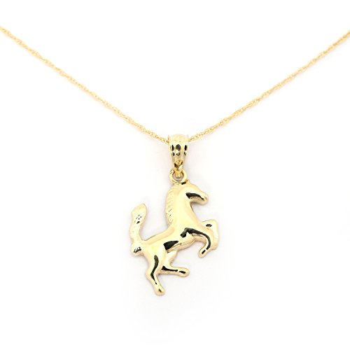 (Beauniq 14k Yellow Gold Horse Pendant Necklace - 13 Inches)