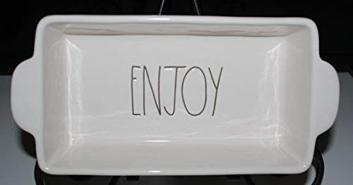 Rae Dunn ENJOY in Large Letters 9 inch Loaf Bread Baking Pan Dish with handles. By Magenta.