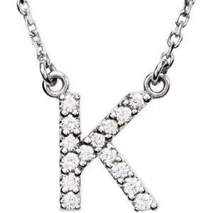 """14K Blanc Lettre """"K"""" 1/8Outlet-40,6cm-Collier Femme-diamant"""