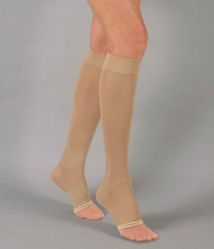 Activa Compliments Knee High Sheer Support Stockings Open Toe 20-30 mmHg (2X-Large, Cocoa)